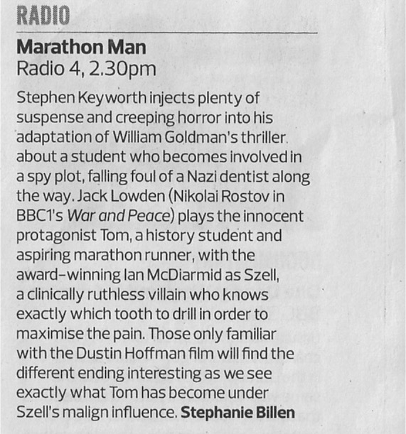 Marathon Man - Observer review